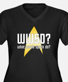 Star Trek: WWSD? Women's Plus Size V-Neck Dark T-S
