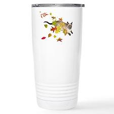 Siamese Cat Fall Leaves Travel Mug