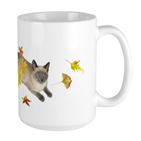 Siamese Cat Fall Leaves Large Mug