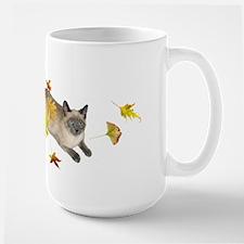 Siamese Cat Fall Leaves Mug
