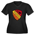 Spain Crest Women's Plus Size V-Neck Dark T-Shirt