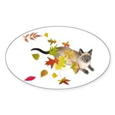 Siamese Cat Fall Leaves Decal