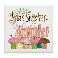 World's Sweetest Godmother Tile Coaster