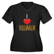 I Love Halloween Women's Plus Size V-Neck Dark T-S