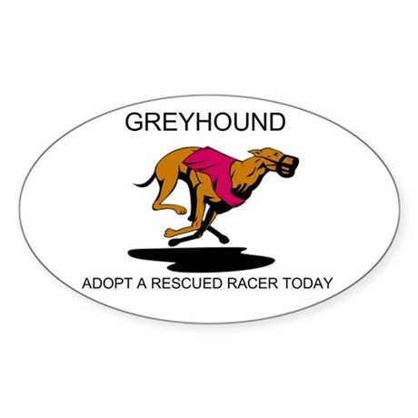 ADOPT A RESCUED RACER Sticker (Oval)