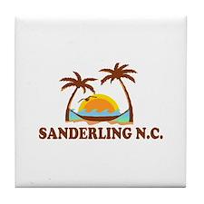 Sanderling NC - Palm Trees Design Tile Coaster