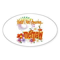 Most Amazing Memaw Sticker (Oval 10 pk)