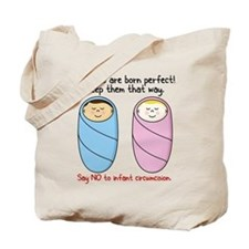 """Say no to circumcision"" Intactivist Tote Bag"