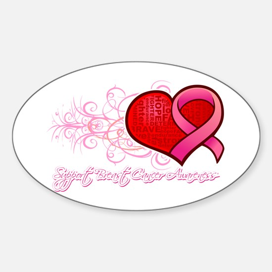 Breast Cancer Heart Ribbon Hope Sticker (Oval)