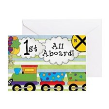 All Aboard 1st Birthday Greeting Card