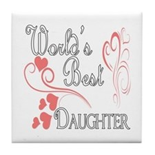 Best Daughter (Pink Hearts) Tile Coaster