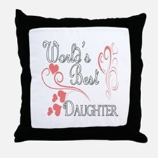 Best Daughter (Pink Hearts) Throw Pillow