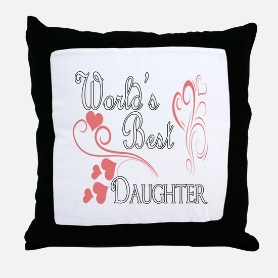 Best Daughter (Pink Hearts) Throw Pillow