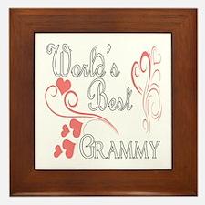 Best Grammy (Pink Hearts) Framed Tile