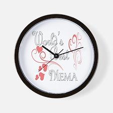 Best Mema (Pink Hearts) Wall Clock