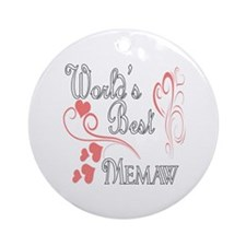 Best Memaw (Pink Hearts) Ornament (Round)
