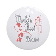Best Mom (Pink Hearts) Ornament (Round)