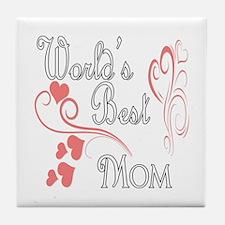Best Mom (Pink Hearts) Tile Coaster