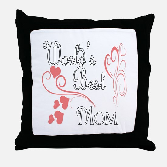 Best Mom (Pink Hearts) Throw Pillow