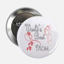 "Best Mom (Pink Hearts) 2.25"" Button"