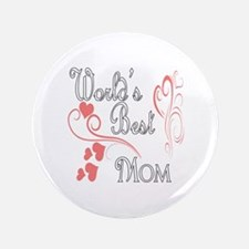"""Best Mom (Pink Hearts) 3.5"""" Button"""