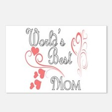 Best Mom (Pink Hearts) Postcards (Package of 8)