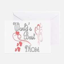 Best Mom (Pink Hearts) Greeting Card