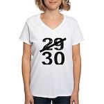 30th Birthday Gifts, 29 to 30 Women's V-Neck T-Shi
