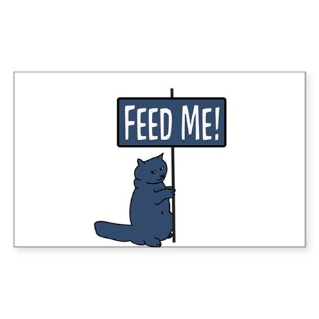 Feed me ! Cat Sticker (Rectangle)