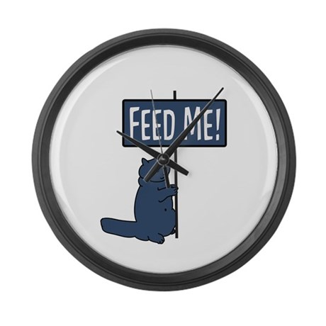 Feed me ! Cat Large Wall Clock