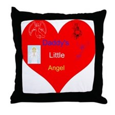 Daddy's Little Angel Heart Throw Pillow