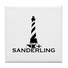 Sanderling NC - Lighthouse Design Tile Coaster