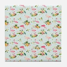 Retro Flamingos & Tropical Plants Tile Coaster
