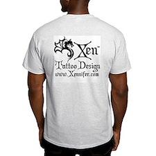 Ornate Red Cross Tattoo Ash Grey T-Shirt