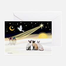 XmasDove-3 Siamese cats Greeting Cards (Pk of 10)
