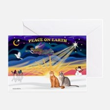 X-Sunrise-2 Abyssinians Greeting Card
