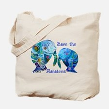 Save The Manatees in Blues Tote Bag