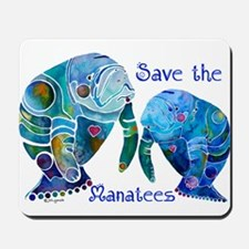 Save The Manatees in Blues Mousepad
