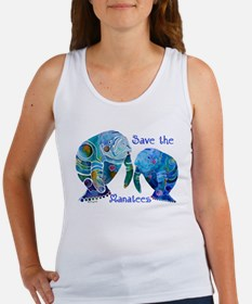 Save The Manatees in Blues Women's Tank Top