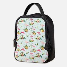 Retro Flamingos & Tropical Neoprene Lunch Bag