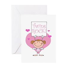 Twins Rock Girl Greeting Card