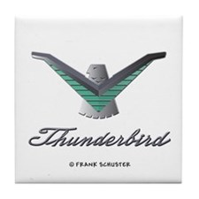 T Bird Emblem with Script Tile Coaster
