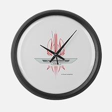 T Bird Emblem Pinstripes Large Wall Clock