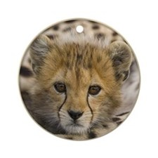 Baby Cheetah Cub Cat Yule Tree Ornament (Round)