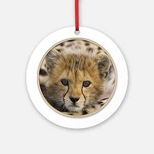 Baby Cheetah Cub Cat Yule Tree Ornament (Round)