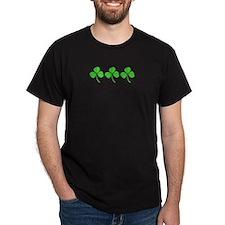 Three Irish Shamrocks Black T-Shirt