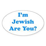 I'm Jewish Sticker (Oval)