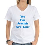 Yes I'm Jewish Women's V-Neck T-Shirt