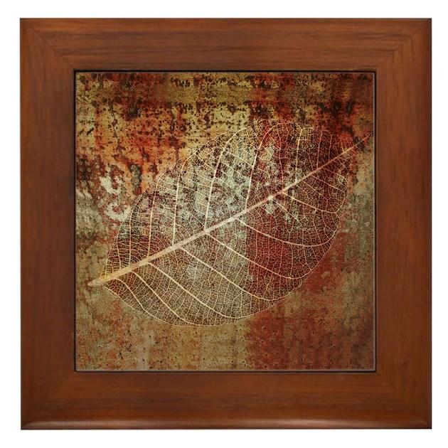 Fossil Leaf Framed Art Tile Ceramic By Oshishop