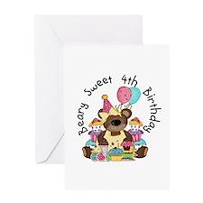 4th Beary Sweet Birthday Greeting Card